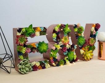 succulent letters, rustic wedding sign, floral letter boho wedding, barn wedding