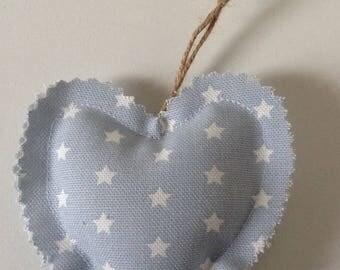 Fabric hanging heart Door hanger Handmade heart Baby blue and white stars Gift Decor