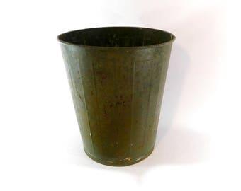 vintage olive green industrial metal trash can school garbage bin military green trash can