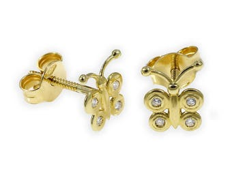Butterfly design inspired by spring 18K Yellow  Gold, Bezel Setting Diamond Round,   Earrings  CTW 0.08