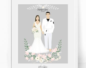 Digital Custom portrait traditional costume illustration family children western personalized sketch wedding drawing illustration print art