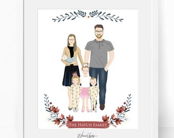 Digital Custom portrait illustration couple personalized family wedding anniversary, couple drawing illustration, printable print wall art