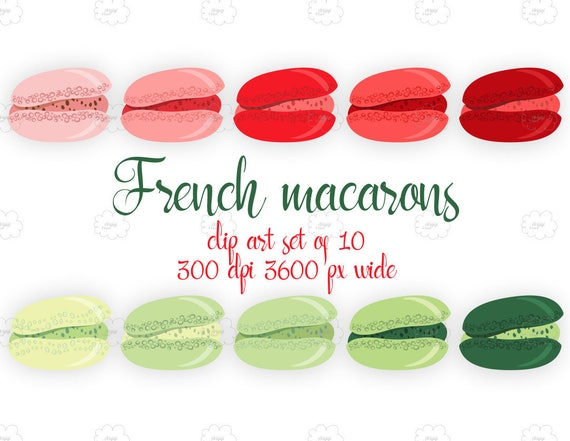 French Macaroons, Macaron  Graphics,  French Pastry Clip Art, sweets red green tea party desserts clipart set download
