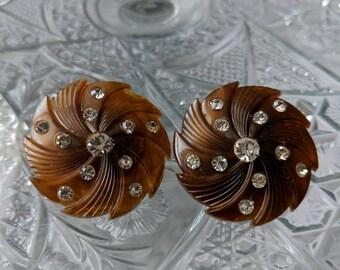Brown Plastic Swirl & Rhinestone Earrings