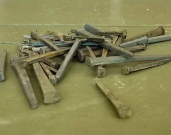 Antique Square Nails- Lot of 40+ Unused Vintage Square Head Nails