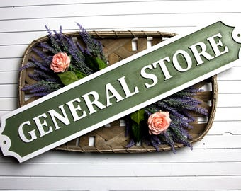 General Store Embossed Wood Sign/Kitchen/Custom/Wall Decor/Farmhouse