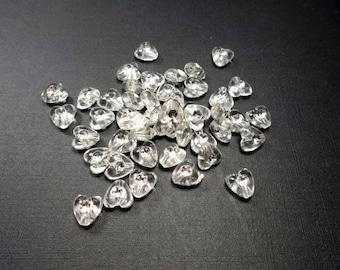 45 beads, heart, Transparent (798)