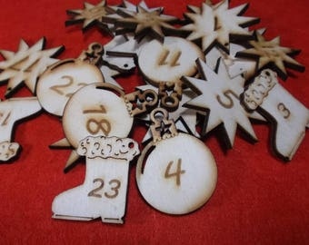 24 advent numbers, wood, 3.5 cm (24-0036A)