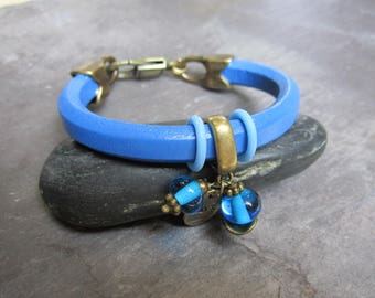 Dark blue thick leather bracelet, blue Lampwork bead...