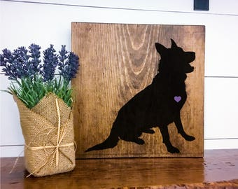 German Shepherd Silhouette Hand Painted Stained Wood Sign, Dog Decor, Gift for Dog Lover, New Puppy Gift, Dog Sign Decor, Housewarming Gift