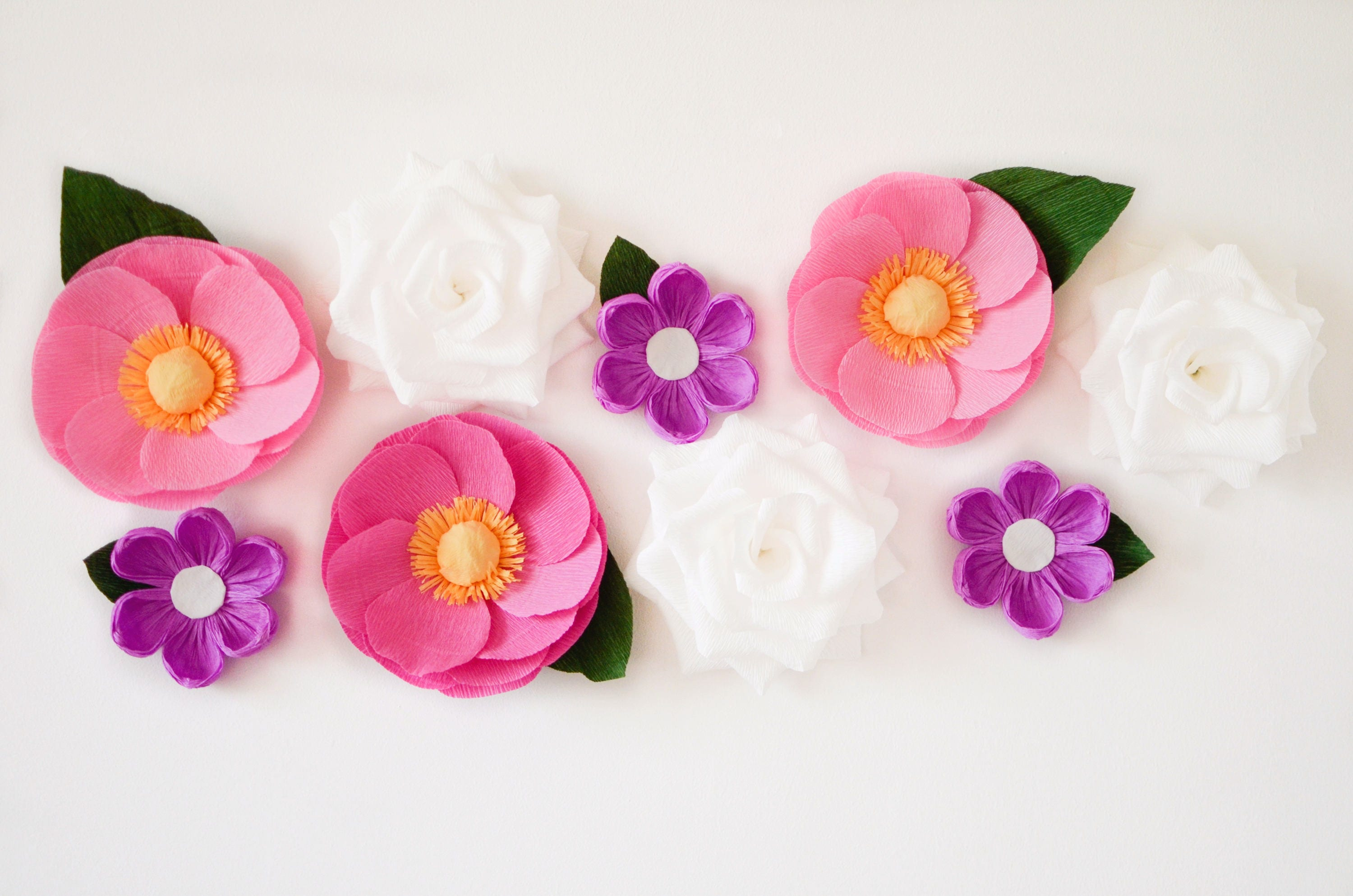 9 Paper Flowers/ Wall Flowers/ Arch Flowers/ Wedding Decoration ...