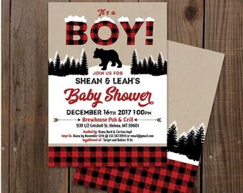 Buffalo plaid Double sided Digital Printable card. Winter Lumberjack Baby Shower Invitation - Little bear - Printable Files.