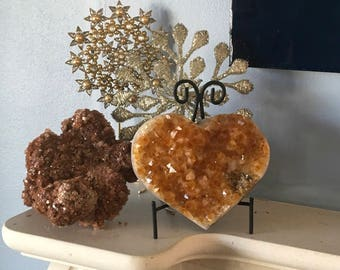 Large Citrine Crystal Cluster Heart, Prosperity Heart, Spiritual Stone, Gemstone, Healing Stone, Healing Crystal