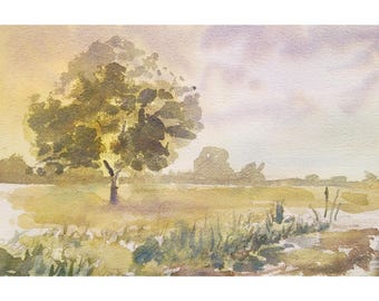 English landscape original watercolor painting england painting english countryside painting english decor english watercolour landscape