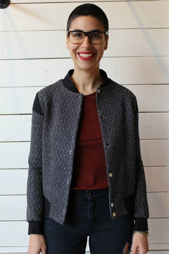 BOMBER 2014 - long sleeves quilted bomber, buttoned blazer, vest, cover-up for womens - grey