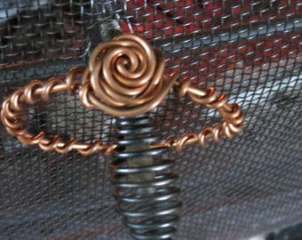 Copper ROSE Bangle Bracelet, Rustic Wire Wrap Jewelry,, Made in Jackson Hole, Wyoming