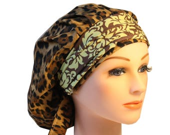 Scrub Cap Surgical Medical Chemo Chef Vet Nurse Hat Banded Bouffant Tie Back Animal Leopard Print Green Damask 2nd Item Ships FREE