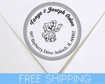 Dog or Little Puppy Custom Return Address Stamp - Self Inking. Personalized rubber stamp with lines of text