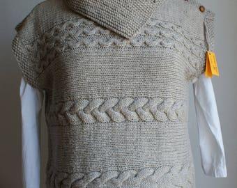 "Hand knit sweater ""tunic"", pure new wool"
