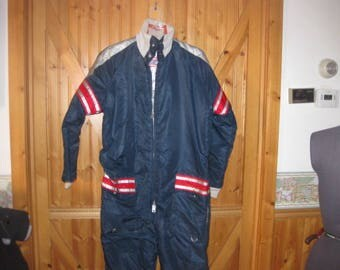 Mens small ladies Med  United Pioneer 1970s Snowsuit with atomic silver lining snowmobile suit racing stripe arms  quilted lined zip legs