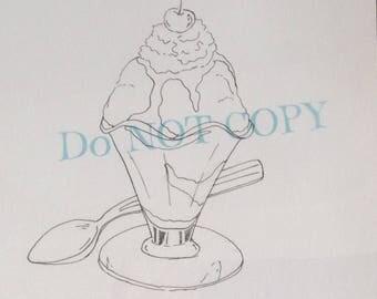 Hot Fudge Sundae DIGITAL STAMP DOWNLOAD Black & White