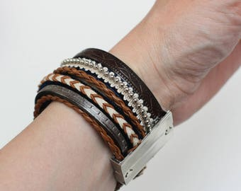 Brown and silver leather magnetic Cuff Bracelet