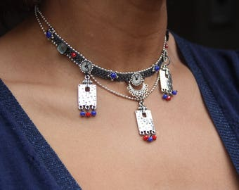 """Ethnic Choker necklace the """"FEZ"""" turquoise blue and Red"""