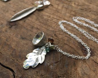 Sterling silver oak and acorn necklace with green emerald and tourmaline - lonf silver necklace