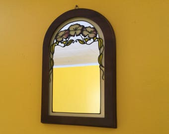 Vintage Stained Glass Mirror Wall Mirror
