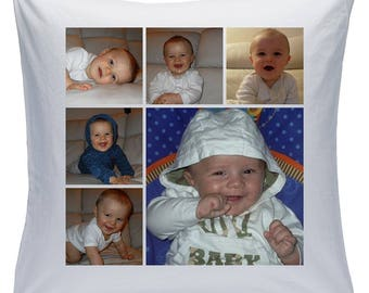 """Personalised White 18"""" Cushion - Collage - 6 Photos - Style 19 ( Can be purchased with or without the inner padding )"""