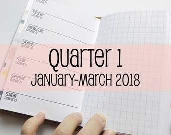 Traveler's Notebook POCKET Size Week on One Page with Grid {Q1 | January-March 2018} #600-21