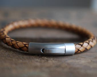 Men's brown braided leather bracelet stainless steel closure . gifts for him