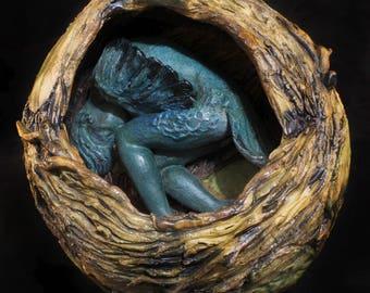 Ceramic Clay sculpture bird woman, fine art ceramics sleeping harpy in nest, collectibles,by Kara Unland of witheredmothstudio