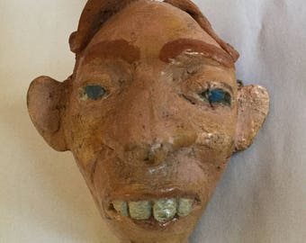 Antique Paper Mache Puppet Head From 1920's Circus, Schlitzie The Pinhead, Freak Show