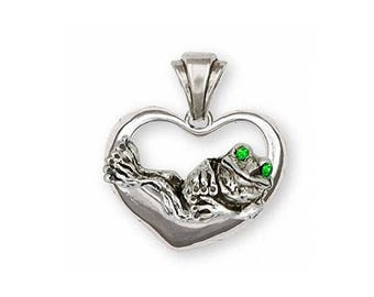 Frog Pendant Jewelry Sterling Silver Handmade Frog Pendant FG17-XP