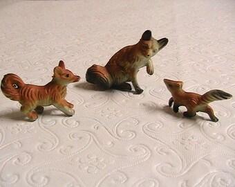 Fox, Miniature Fox Family, Hong Kong, Set of 3