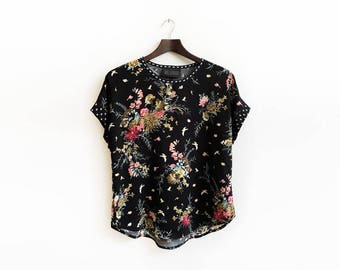 Black Floral Top, Bohemian Clothing, Loose Shirt, Summer Fashion, Blouse Top, Short Sleeve Blouse, Unique Clothing / XS S M L