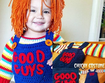 Crochet Chucky Inspired Costume Includes Sweater, Overalls and Wig