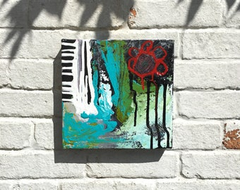 "Abstract painting small original acrylic art 10""x10"""