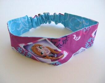 Frozen, Elastic Headband, Hair Accessory, Fabric Headband, Elastic Back, Reversible, Anna Headband, Blue, Child Headband, Fabric Headwrap