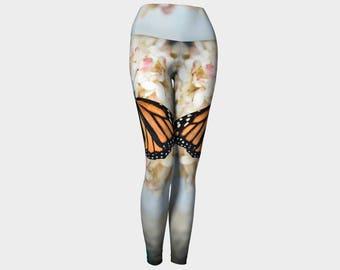 Monarch Yoga Pants, Fashion Leggings, Ethereal Leggings, Nature Yoga Pants, Printed Leggings, Digital Print Leggings, Nature Photo Leggings