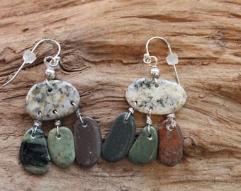 Lake Superior rock and sterling silver earrings, beach stone earrings, dangle earrings, Christmas, coworker gift, anniversary, birthday