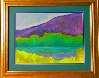 "Landscape Acrylic Painting on paper, framed, ""Stillwater Pond: June"""