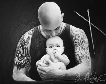 CUSTOM PORTRAIT -  Father painting, Father and son, Father and daughter painting, Dad Painting