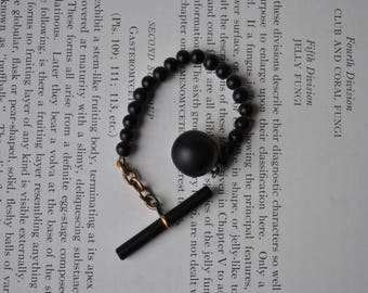 Antique Mourning Jewelry, Black Glass Watch Fob - 1890s Victorian Black Glass, Rose Gold Filled Fob