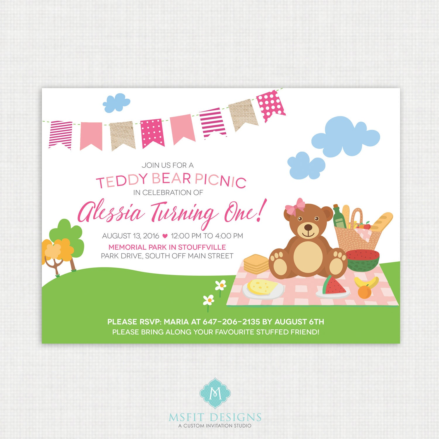 Teddy Bear Invitation, Teddy Bear Picnic Invitation, Bear ...