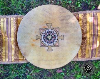 16'Shaman drum, Frame drum, fullMoon-drum,Stage drum,Deer Hide paited with herbs