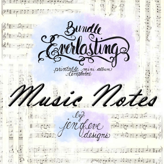 Everlasting & Mini Everlasting Printable Mini album Template Bundle in Music Notes and PLAIN