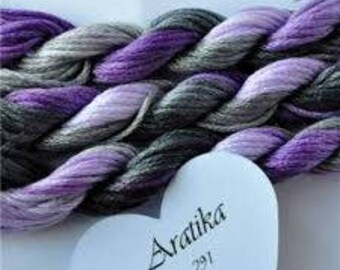 291 Aratika, Hand Dyed Variegated Stranded Cotton, purple and greys. Made in France, Fils a Soso, 8 metre skein, hand dyed yarn, purples.