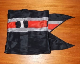 Vintage Red, Black, and Gray Vera Neumann Scarf with Signature